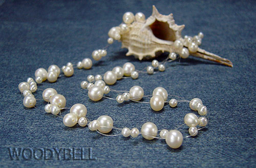 泡みたいな淡水真珠3連ネックレス